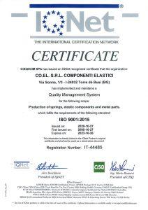 Co.El. srl certificato UNI EN ISO 9001 2015 IQNET 2020 2023