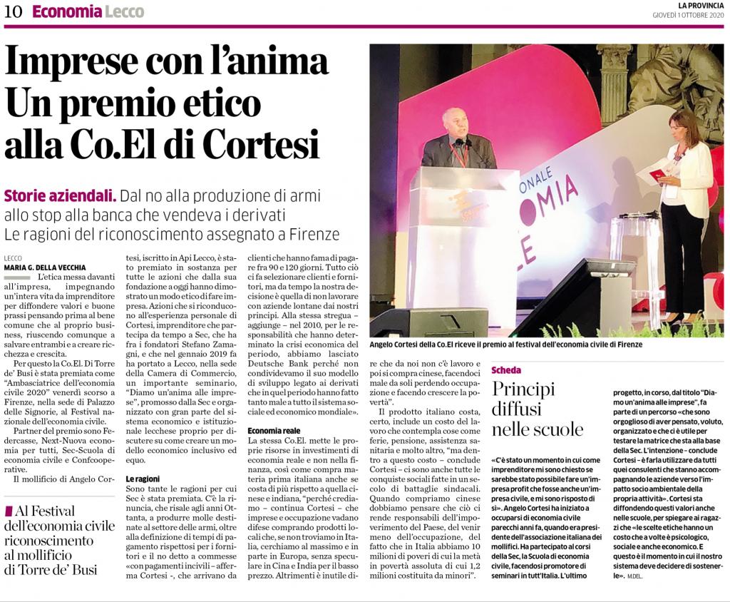 Premio impresa etica a Co.El.